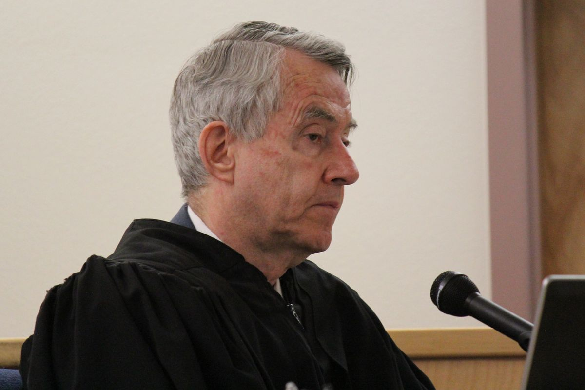 Superior Court Judge Michael Jeffery presiding over a District Court hearing on Dec. 10, 2014 in Barrow. After more than three years as the community's first and only Superior Court judge, Jeffery will retire later this month.