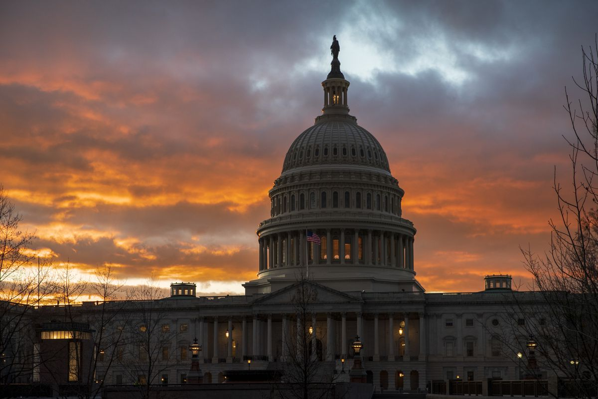 """FILE - In this Jan. 24, 2019, file photo, the Capitol at sunset in Washington. Facing criticism that the Senate has become little more than what one member calls """"an expensive lunch club,"""" Congress returns for the fall session with pressure mounting on Leader Mitch McConnell to address gun violence, election security and other issues. (AP Photo/J. Scott Applewhite, File)"""