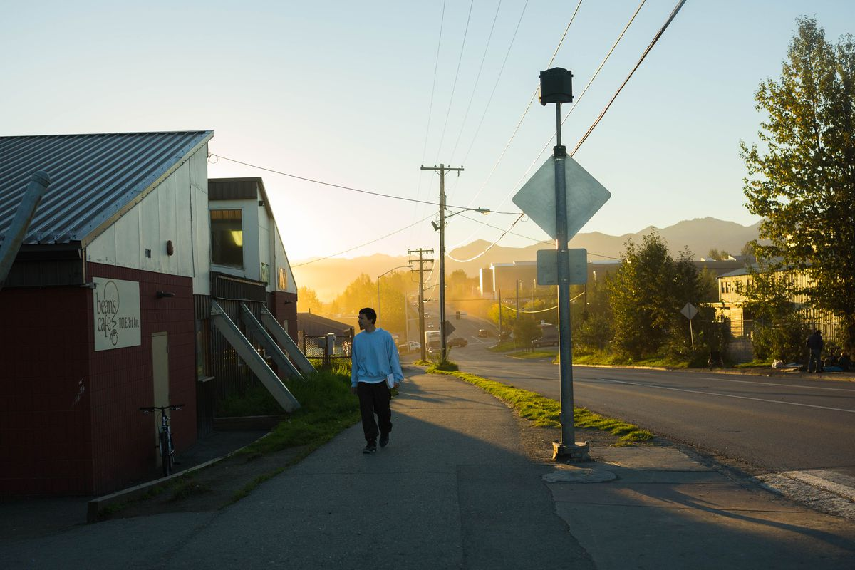 Beans Cafe, photographed early Wednesday morning, Aug. 31, 2016, and neighboring Brother Francis Shelter together provide services for many of Anchorage's homeless population. (Loren Holmes / ADN)