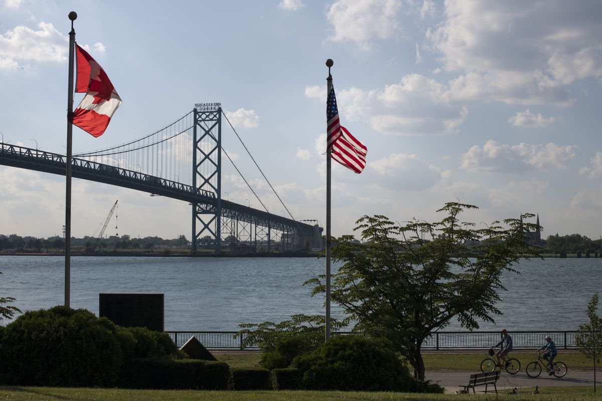 The Ambassador Bridge, which connects Windsor, Canada, and Detroit. In October, recreational marijuana will become legal in Canada, presenting a challenge for U.S. officials at the border, where possession of the drug violates federal law. (Brittany Greeson for The Washington Post)