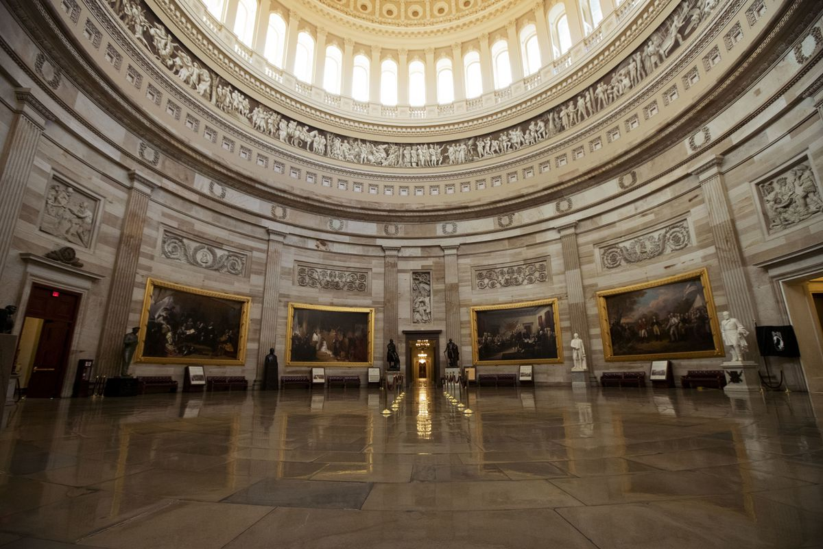 The empty U.S. Capitol Rotunda is seen during a partial government shutdown in Washington on Monday. (AP Photo/Manuel Balce Ceneta)