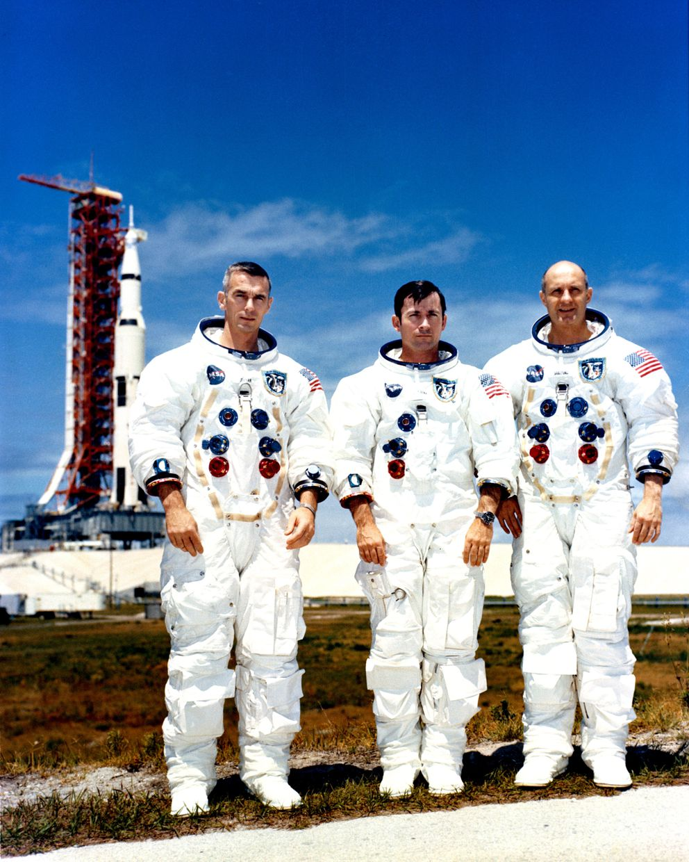 John Young, center, with his Apollo 10 crewmates Eugene Cernan, left, and Thomas Stafford in Florida on May 13, 1969. (NASA via The New York Times)