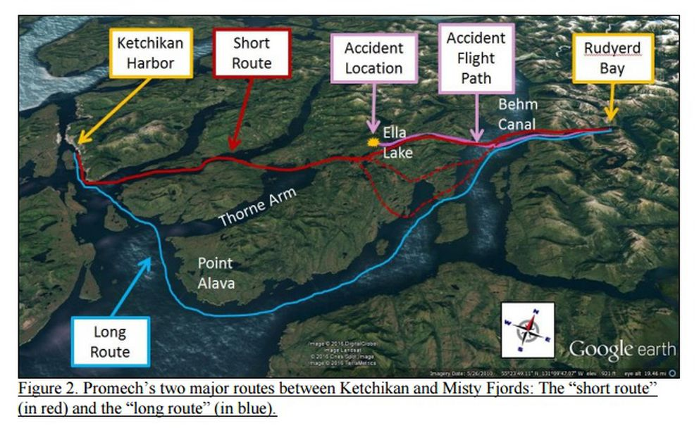 "Promech Air pilots took a ""short route"" and a ""long route"" between Ketchikan and Rudyerd Bay to the east. A June 25, 2015, crash that killed nine people occurred on the ""short route."" (From NTSB)"