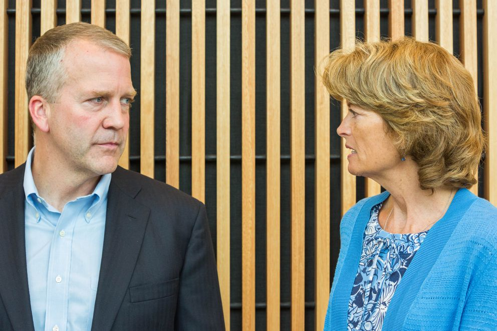 Alaska Sens. Dan Sullivan and Lisa Murkowski in August at a meeting on opioid abuse in Palmer. (Loren Holmes / Alaska Dispatch News)