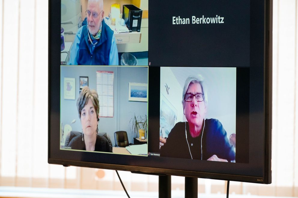 University of Alaska Anchorage college of health infectious disease epidemiologist Tom Hennessy, lower right, speaks over teleconference during an Anchorage COVID-19 community briefing on Friday, July 17, 2020, at city hall. (Loren Holmes / ADN)
