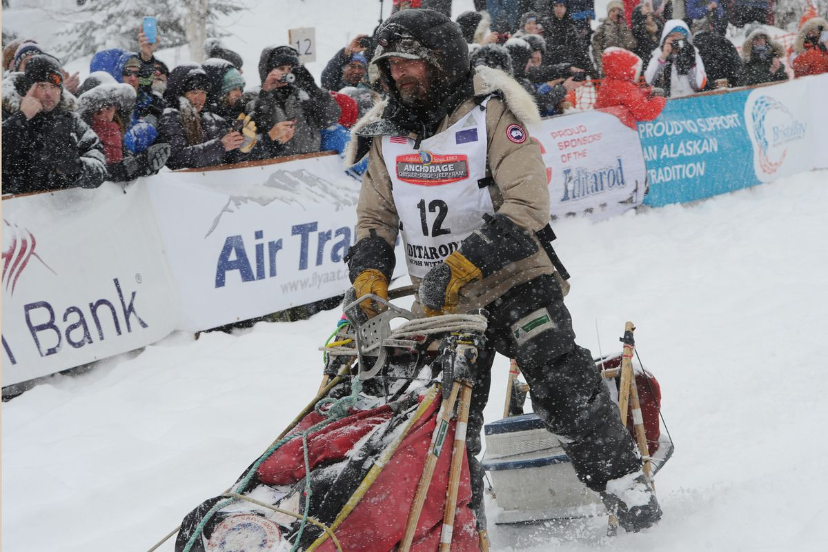 Lance Mackey of Fairbanks drives his sled during the restart of the Iditarod Trail Sled Dog Race in Willow on Sunday, March 8, 2020. (Bill Roth / ADN)