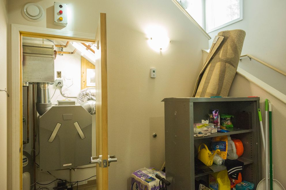 A small mechanical room at the University of Alaska Fairbanks Sustainable Village, on September 9, 2015. The energy-efficient home requires less space for mechanical systems than comparable conventionally-built homes. (Loren Holmes / Alaska Dispatch News)