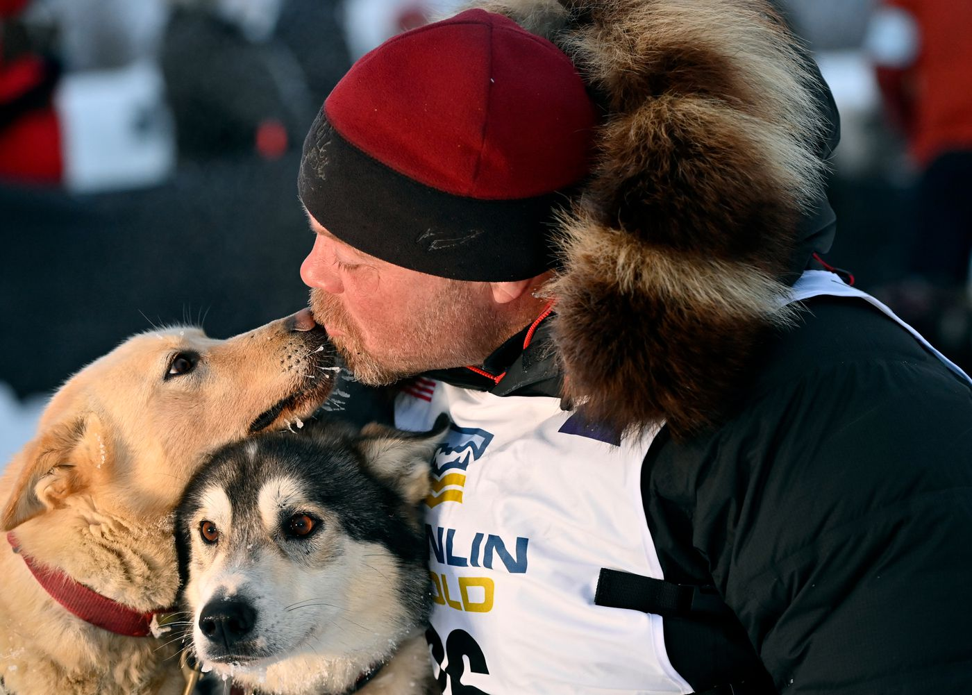 Aaron Burmeister kisses lead dogs Charley and Dudley after finishing the 2021 Iditarod Trail Sled Dog Race on March 15, 2021. (Marc Lester / ADN)