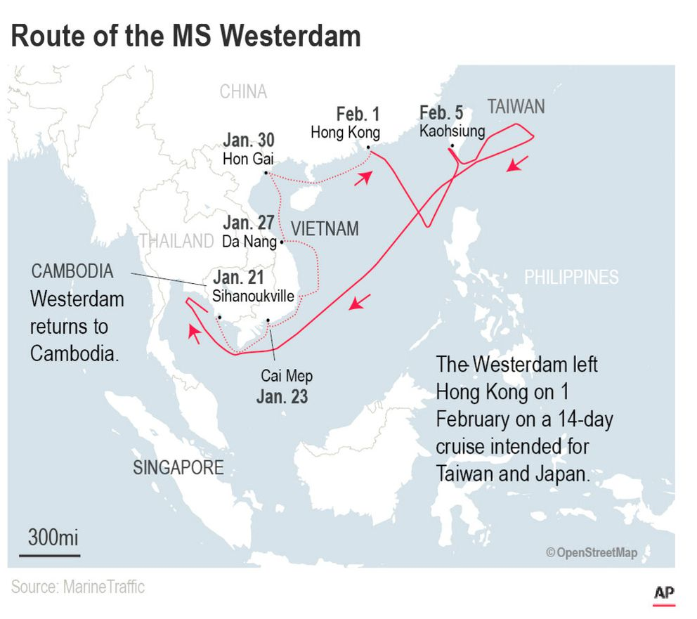 Thailand had said Tuesday that it would not allow the MS Westerdam to dock at a Thai port after it had already been turned away by the Philippines, Taiwan and Japan.