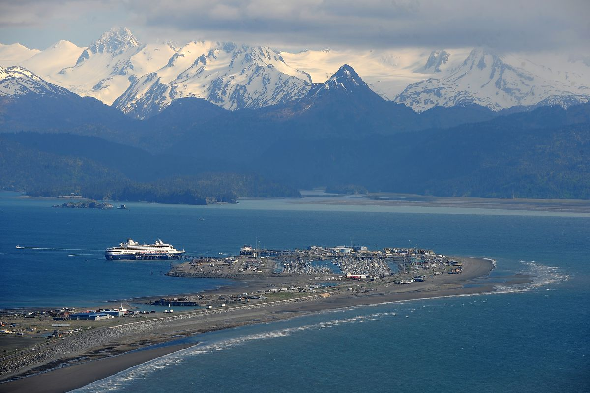 The cruise ship MS Statendam of the Holland America Line calls on Homer on Tuesday, May 26, 2015, in Kachemak Bay. (Erik Hill/ADN archive)