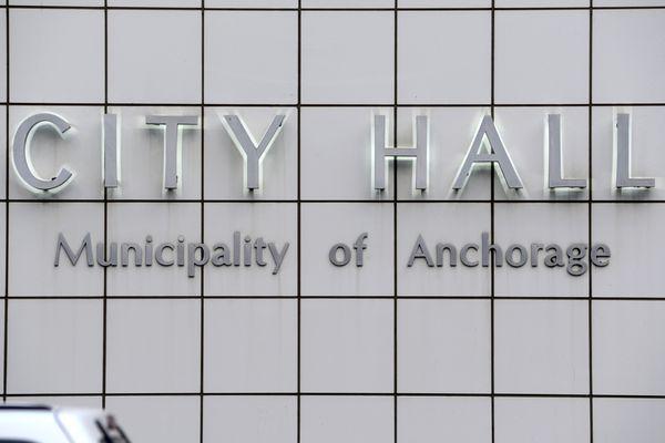 City Hall sign, Dec. 23, 2019. (Anne Raup / ADN)