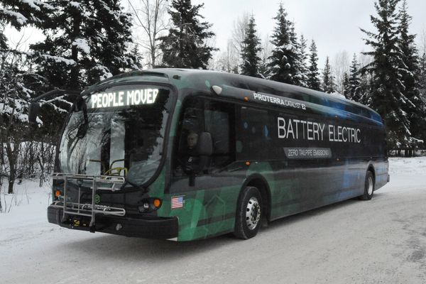 The Municipality of Anchorage and Proterra will begin testing an electric bus with zero tailpipe emissions or pollutants, that also reduces noise pollution, over the next four months on People Mover routes 10, 25, and 35 beginning Jan. 16, 2018. (Bill Roth / ADN)