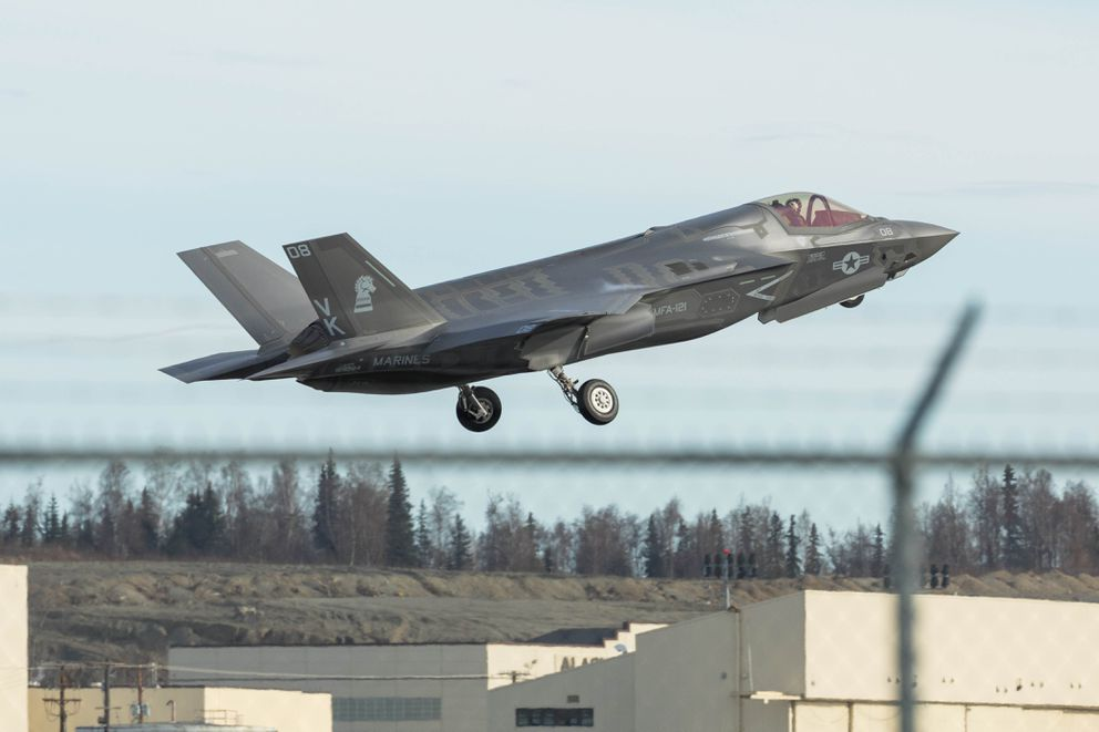 An F-35 from Marine Corps Air Station in Iwakuni, Japan, takes off from Joint Base Elmendorf-Richardson. (Loren Holmes / Alaska Dispatch News)