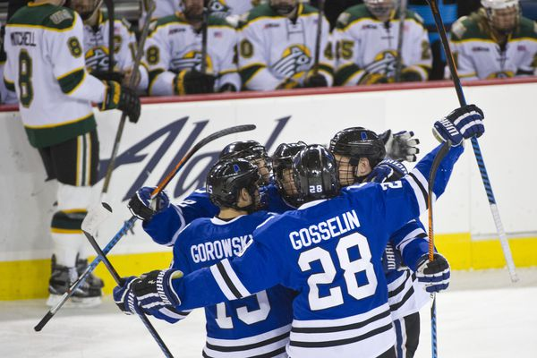 University of Alabama Huntsville celebrates a first period goal. UAA faced University of Alabama Huntsville in a WCHA game at the Sullivan Arena in Anchorage on Friday, November 4, 2016. (Marc Lester / Alaska Dispatch News)