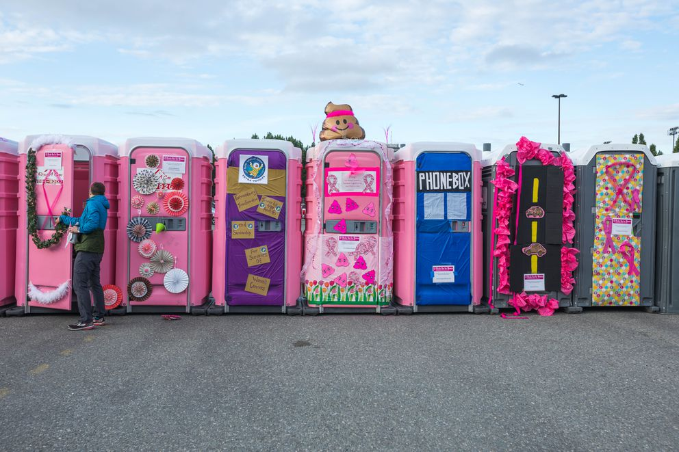 Each year features a port-a-potty decorating contest. (Loren Holmes / ADN)