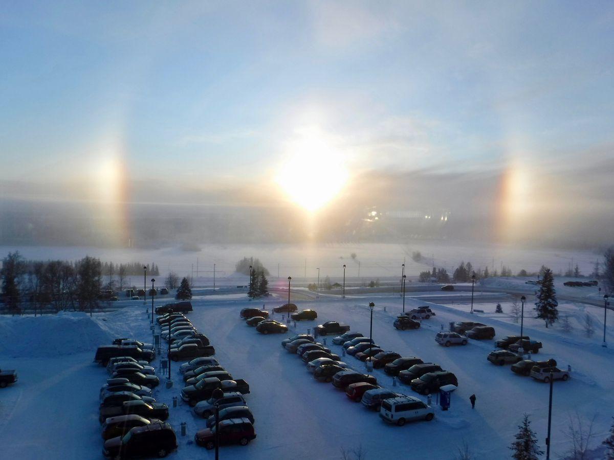 Sundogs seen from the University of Alaska Fairbanks campus on Jan. 23, 2020. (Photo by Ned Rozell.)