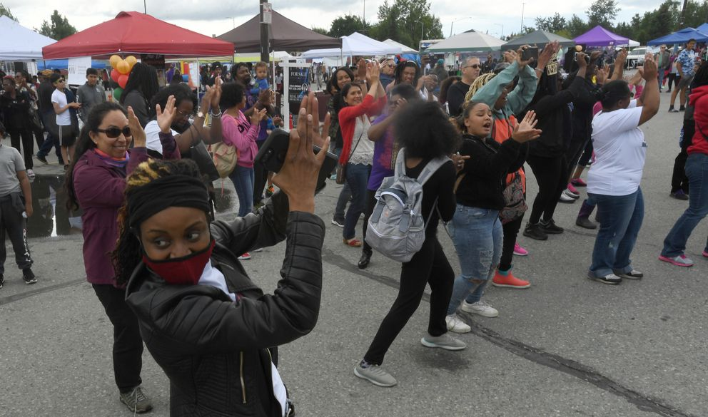 Dancers move to the music at the Juneteenth Celebration on Saturday. (Bob Hallinen photo)