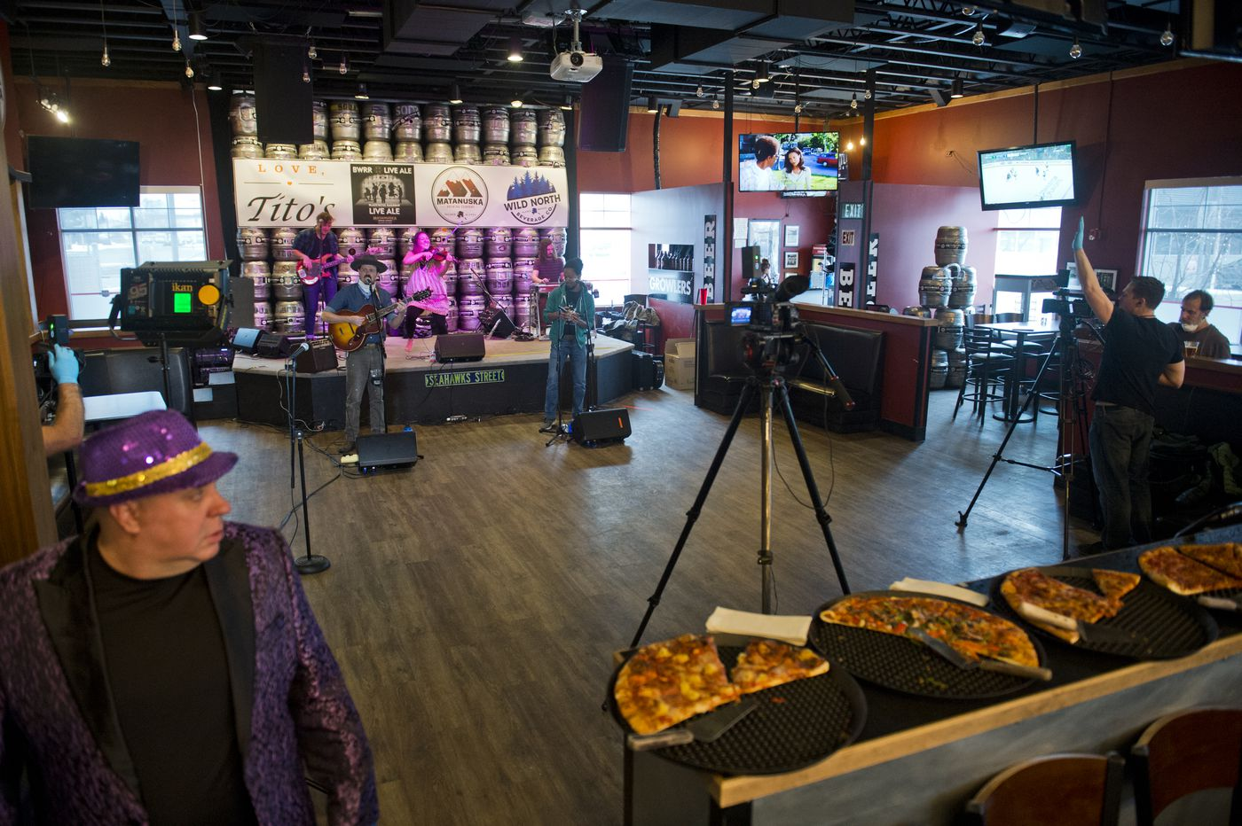 Blackwater Railroad Company performs for a livestream audience at Matanuska Brewing Company on March 27, 2020. (Marc Lester / ADN)