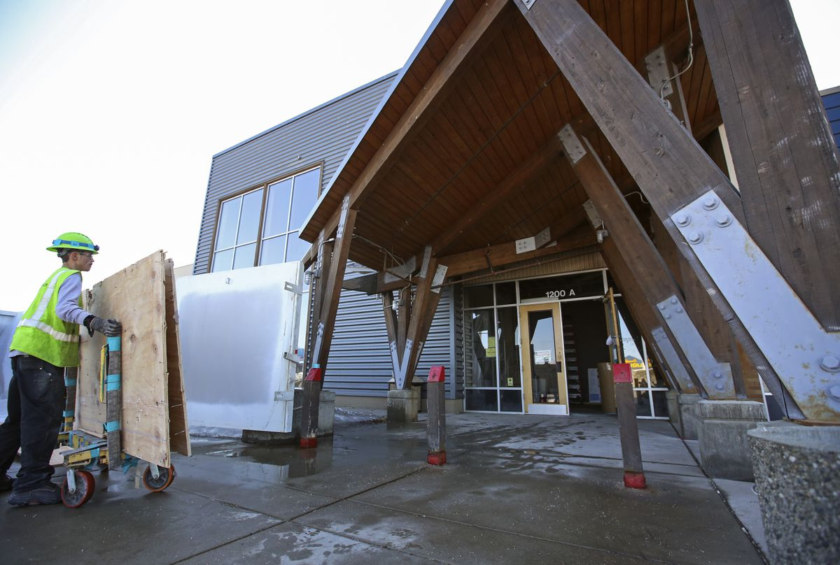Providence Medical Group is opening a clinic in the building where REI Co-op was before it relocated to the Midtown Mall in Anchorage. The building sits on the corner of Spenard Road and W. Northern Lights Boulevard. Photographed on Friday, April 16, 2021. (Emily Mesner / ADN)
