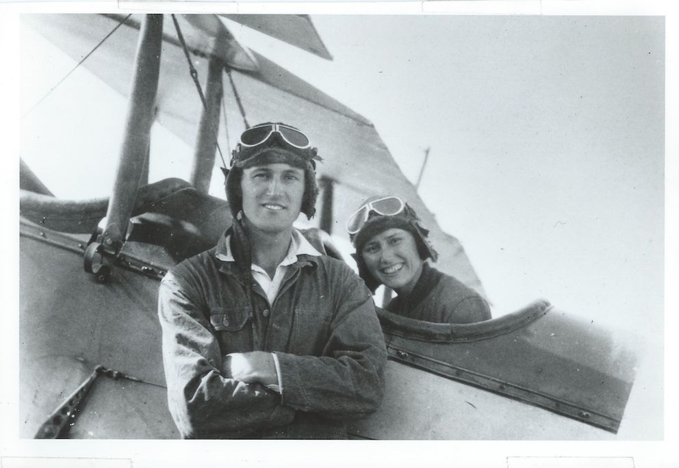 Marvel and Joe Crosson in the modified Curtiss Jenny they rebuilt in California, circa 1924. (Courtesy of the Crosson family)