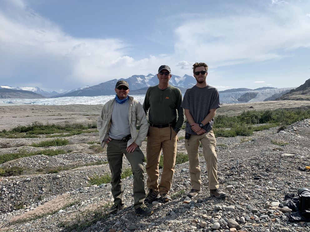 Left to right; Troy Anzalone, Jon Dobbs, Tim McGee with Llewellyn Glacier in the background. (Photo by Jon Dobbs)