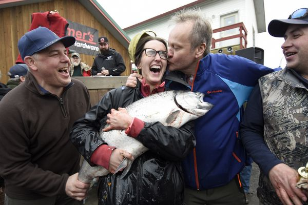 Shayna Perry celebrates her first place win in the 24th annual Homer Winter King Tournament Saturday, March 23, 2019. From left to right: Chris Lawson, Shayna Perry, skipper Krzysztof Balaban, and Shayna's boyfriend Luke Graham. Perry is the first woman champion in the history of the one-day tournament. (Photo by Jim Lavrakas / Far North Photography)