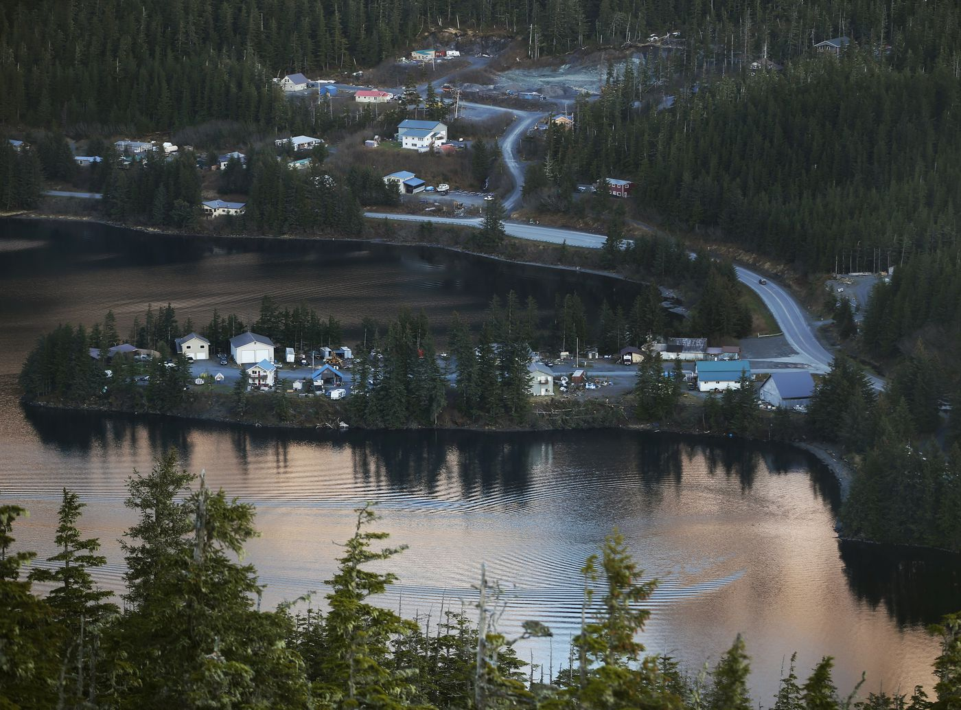 Elmers Point Drive extends into Eyak Lake as the Copper River Highway wraps around the lake in Cordova on Monday, May 17, 2021. (Emily Mesner / ADN)