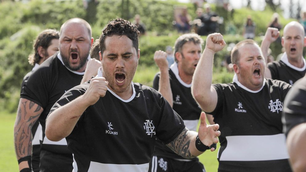 Members of the Mangatainoka Barbarians, a New Zealand rugby team, perform a haka before a July 15 game at the Alaska Mountain Rugby Grounds. A haka is a traditional war dance common in many Pacific Island cultures and is a tradition of the All Blacks, New Zealand's national rugby team. (Loren Holmes / Alaska Dispatch News)