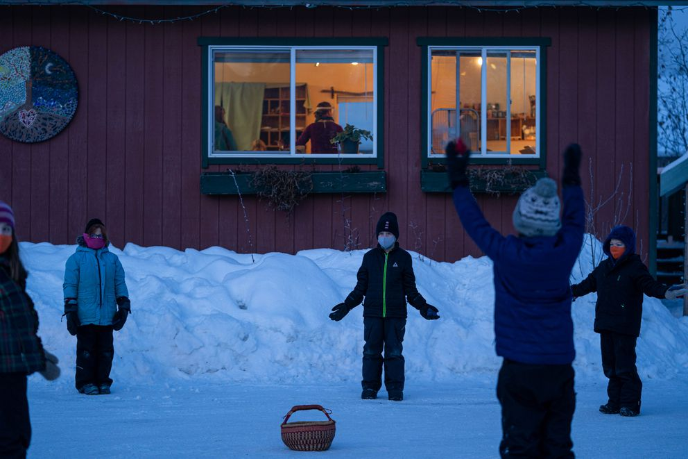 Anchorage Waldorf School 3rd- and 4th-grade students participate in a movement activity. (Loren Holmes / ADN)