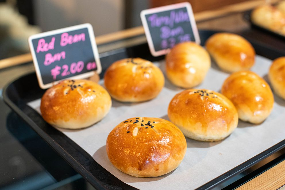 Red bean buns, one of the more unique offerings at Roti bakery, photographed Thursday, Dec. 5, 2019. (Loren Holmes / ADN)