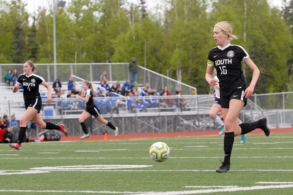 South captain Carin Currier leads the break during the Wolverines' 2-0 win over Eagle River in the first round of the ASAA/First National Bank Alaska Division I Girls Soccer Tournament on Thursday, May 23, 2019 at Eagle River High. (Matt Tunseth / Chugiak-Eagle River Star)