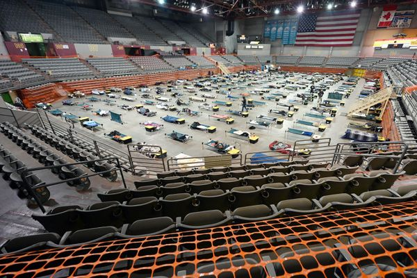 Socially distanced cots on the floor of the Mass Emergency Shelter operated by Bean's Cafe in the Sullivan Arena on a rainy Wednesday, Feb. 24, 2021. (Bill Roth / ADN)
