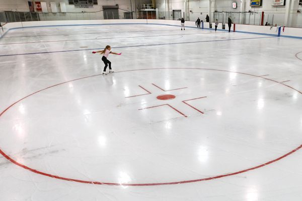 Figure skater Scarlett Sherlock, 9, glides across the fresh sheet of ice during practice at Rink 2 in the Ben Boeke Ice Arena on Monday, August 31, 2020. (Bill Roth / ADN)