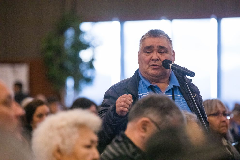 Utqiagvik resident Delbert Rexford speaks in support of a resolution calling for more resources to combat drug use and addiction, during the Alaska Federation of Natives convention Saturday, Oct. 20, 2018 at the Dena'ina Civic and Convention Center in Anchorage. Rexford shared the story of his son, who committed suicide two years ago while under the influence of methamphetamine, according to an article in the Arctic Sounder newspaper. Rexford said his son was given a drink laced with drugs. (Loren Holmes / ADN)