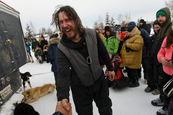 Brent Sass greets fans in Fairbanks. Sass won the Yukon Quest International Sled Dog Race on February 11, 2019. (Marc Lester / ADN)