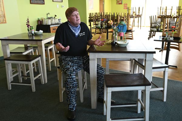 Executive Chef Joe Davidson, owner of Sis's Café and Catering on Old Seward Highway, talks about the impact the coronavirus pandemic is having on his business on Monday, April 6, 2020. (Bill Roth / ADN)