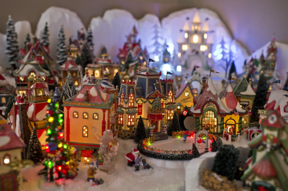 Warrell's extensive display features many buildings that light up. (Marc Lester / ADN)