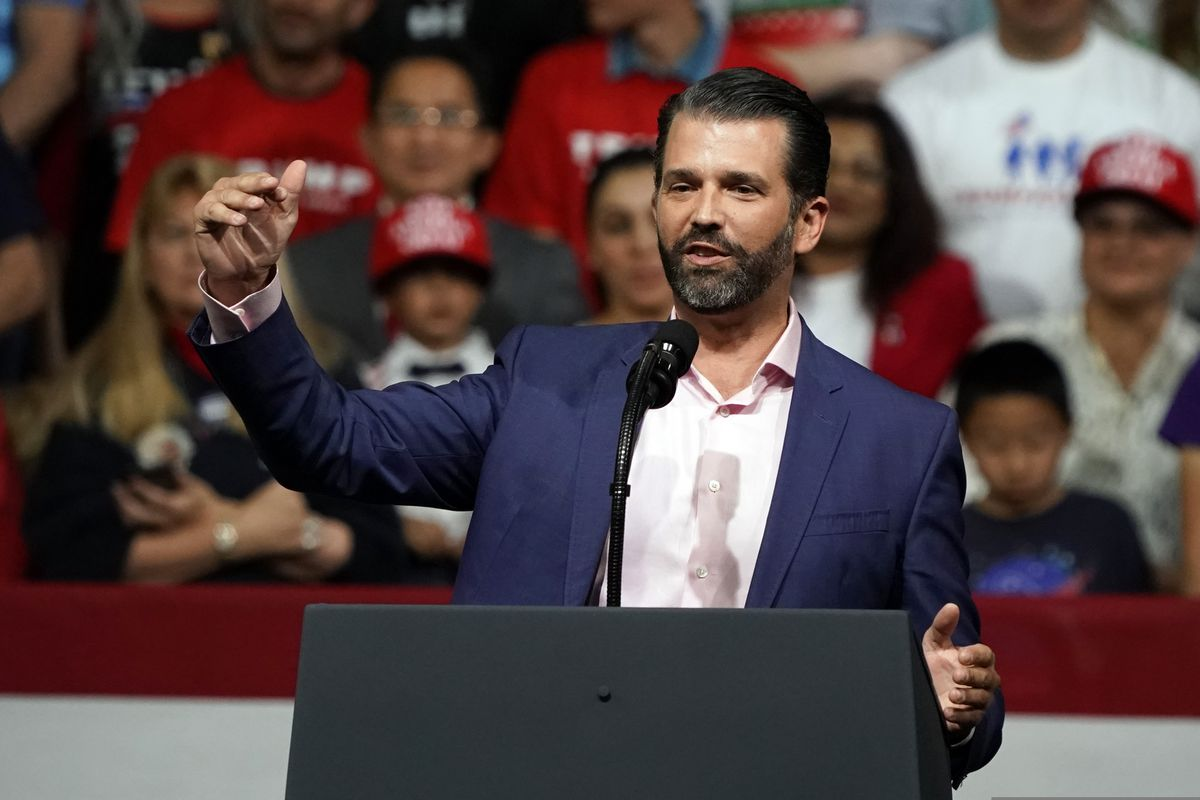 FILE - In this Feb. 19, 2020 file photo Donald Trump Jr. speaks at a rally before his dad and President Donald Trump appears in Phoenix. The Alaska Department of Fish and Game on Monday, Feb. 24, 2020, confirmed that Trump Jr. applied for and received a permit to hunt for a grizzly bear in 2020 in game management units north and east of Nome.(AP Photo/Rick Scuteri,File)