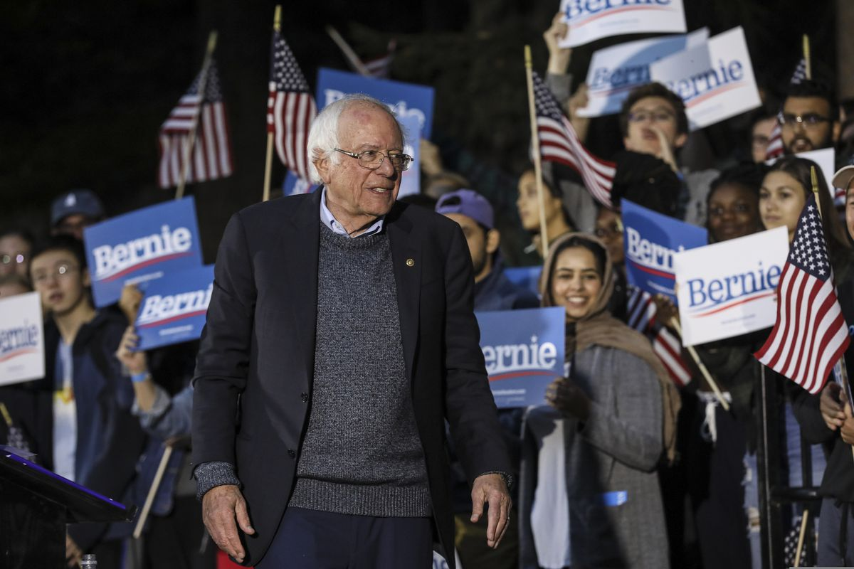 Democratic presidential candidate Sen. Bernie Sanders, I-Vt., leaves after speaking at a campaign event, Sunday, Sept. 29, 2019, at Dartmouth College in Hanover, N.H. (AP Photo/ Cheryl Senter)