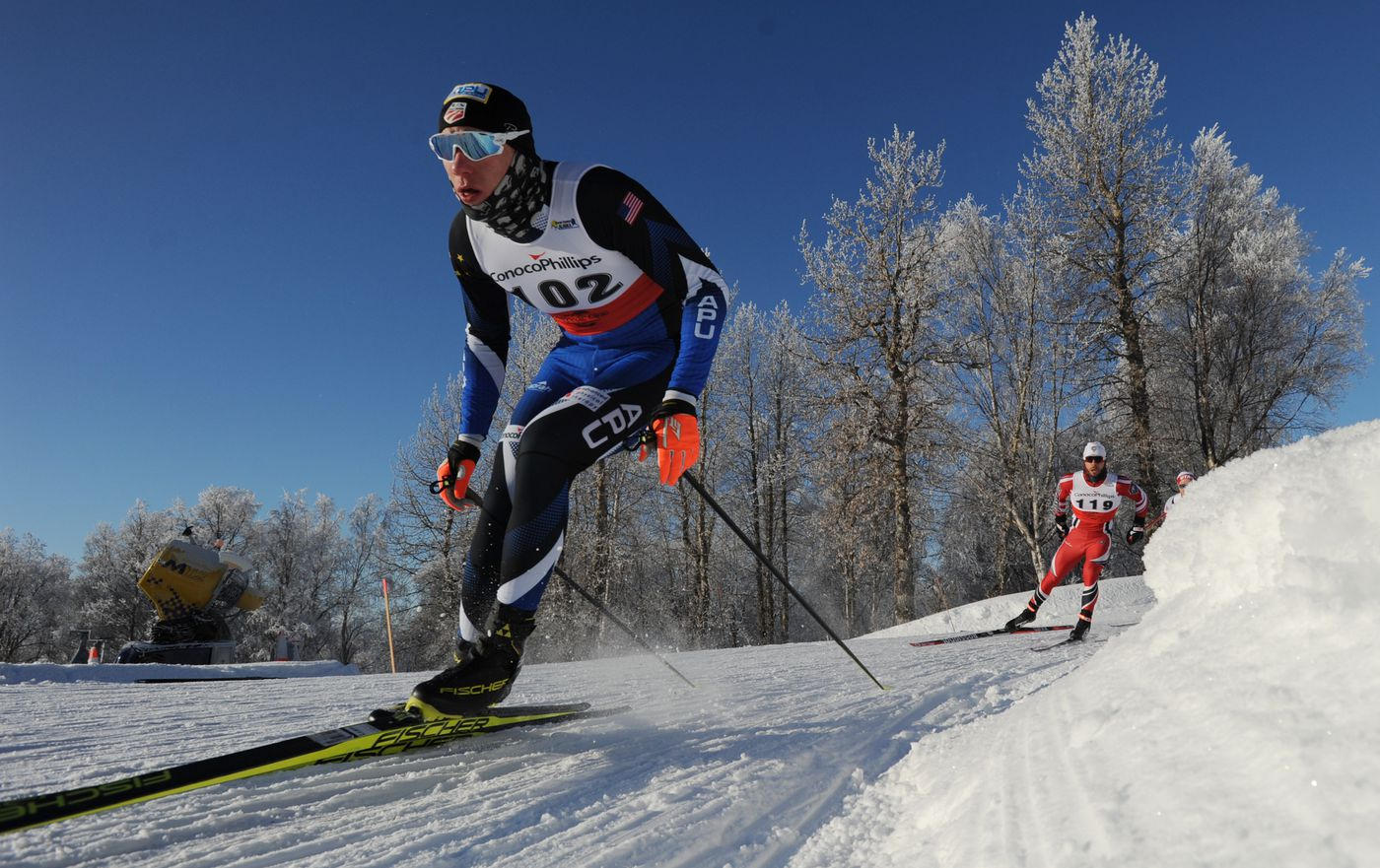 APU's Logan Hanneman, who finished second overall, rounds a corner during the freestyle sprint quarterfinals of the Seawolf Invitational at Kincaid Park on Tuesday, Feb. 7, 2017. (Bill Roth / ADN)