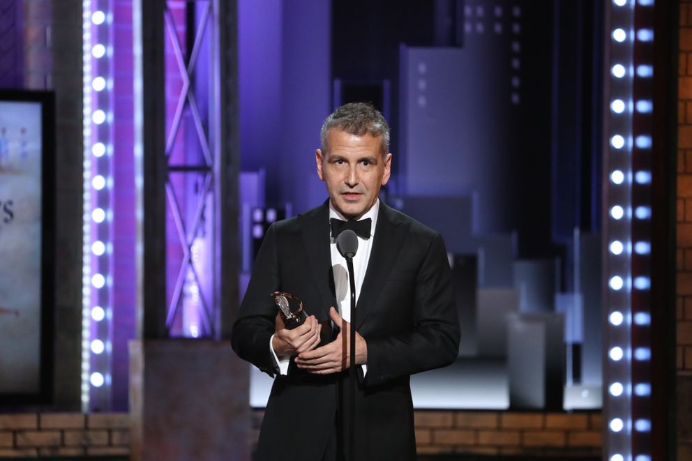 David Cromer accepts the award for best direction of a musical for ÒThe BandÕs Visit,Ó at the 72nd Annual Tony Awards at Radio City Music Hall in New York, June 10, 2018. (Sara Krulwich/The New York Times)