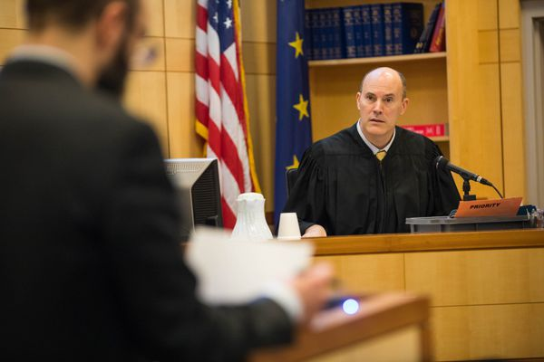 Judge Brian Clark conducts bail hearings Friday, Feb. 2, 2018 at the Anchorage Jail Court. (Loren Holmes / ADN)