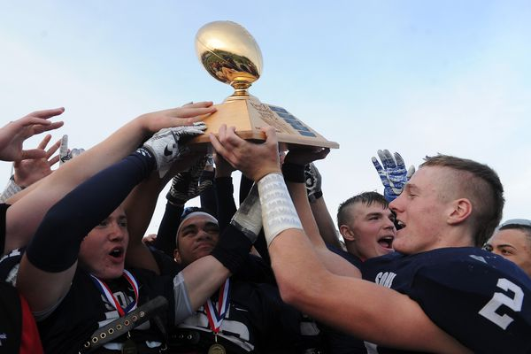The Soldotna High football team defeated Palmer High 21-0 to clinch their 6th straight Division II Alaska state championship in Palmer, Alaska on Saturday, October 14, 2017. Soldotna has a 59 game winning streak. (Bob Hallinen / Alaska Dispatch News)