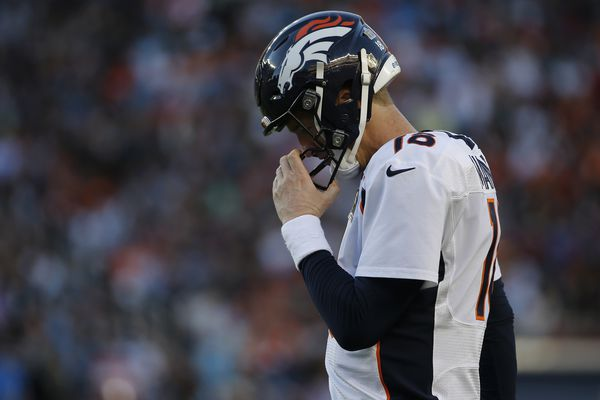 Denver Broncos' Peyton Manning walks off the field during the first half of the NFL Super Bowl 50 football game against the Carolina Panthers, Sunday, Feb. 7, 2016, in Santa Clara, Calif.