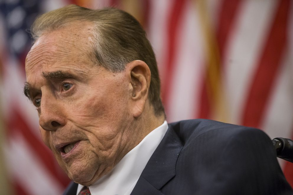 Former Sen. Bob Dole speaks during a news conference celebrating the 25th Anniversary of the Americans with Disabilities Act at the Capitol in Washington, July 27, 2015.