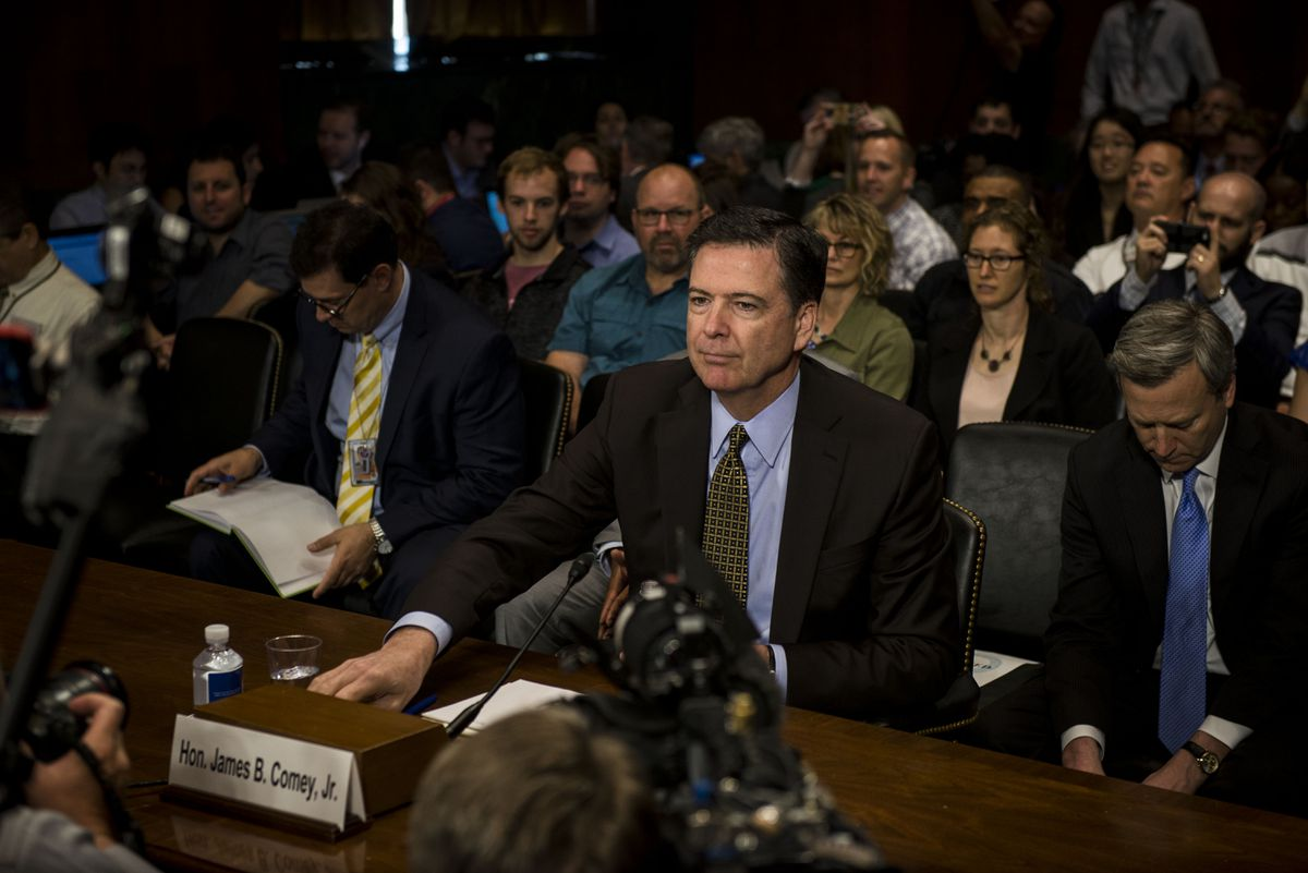 FILE — FBI Director James Comey testifies before the Senate Judiciary Committee, less than a week before he was fired, on Capitol Hill in Washington, May 3, 2017. (Gabriella Demczuk/The New York Times)