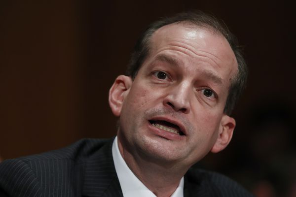 FILE- In this March 22, 2017, file photo, Labor secretary-designate Alex Acosta testifies on Capitol Hill in Washington. Judge Kenneth Marra ruled Thursday, Feb. 21, 2019, that the victims of financier Jeffrey Epstein should have been consulted under federal law. Marra stopped short of invalidating the non-prosecution agreement but asked prosecutors and victims' lawyers to recommend in 15 days how to move forward. (AP Photo/Manuel Balce Ceneta, File)