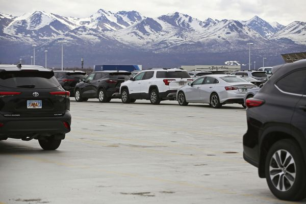 The overflow parking lot for rental car companies is emptier than usual at their airport location in Anchorage on Tuesday, May 4, 2021. Rental car companies, many of which downsized their fleets last summer when the pandemic hit, are seeing an increase in demand as Americans prepare to travel again this summer — resulting in a shortage of available cars in many places, including Anchorage. (Emily Mesner / ADN)