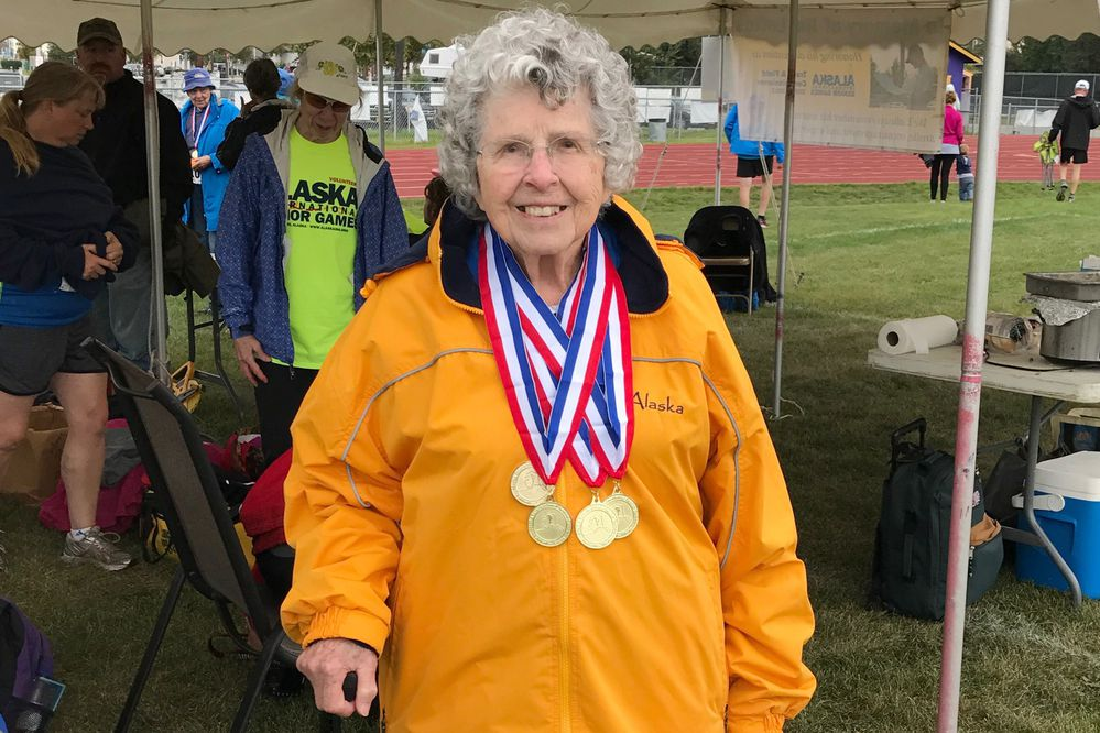 Bettie Upright shows off her medals from the AISG Gala Games 2017. (Steve Day)