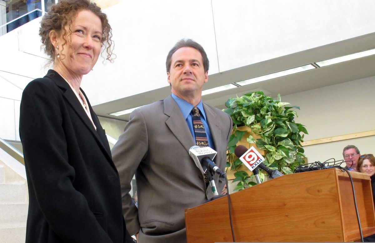 In this Dec. 14, 2012, file photo, Tracy Stone-Manning, left, is named by Gov.-elect Steve Bullock to run the Montana Department of Environmental Quality, in Helena, Mont. Stone-Manning has been nominated by President Joe Biden to lead an agency that oversees about a quarter-billion acres of public lands in western states. (Matt Gouras / AP File)